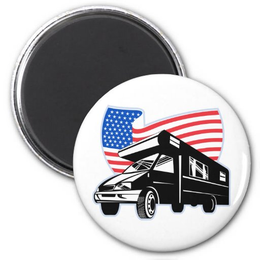 Camper van with american flag stars and stripes magnet