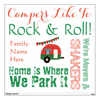 Camper Wall Art Stickers Personalized Family Name
