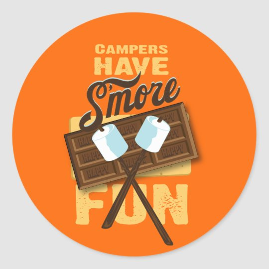 Campers Have S'more Fun Bonfire Bash Classic Round Sticker