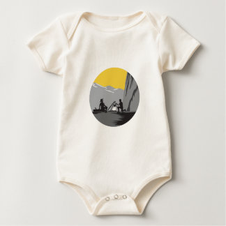 Campers Sitting Cooking Campfire Circle Woodcut Baby Bodysuit