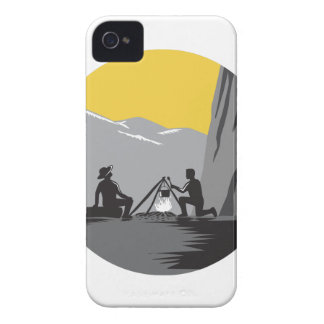 Campers Sitting Cooking Campfire Circle Woodcut Case-Mate iPhone 4 Case