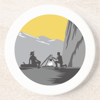 Campers Sitting Cooking Campfire Circle Woodcut Drink Coaster
