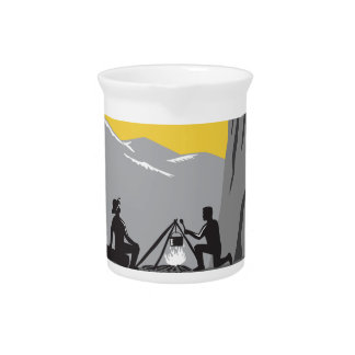 Campers Sitting Cooking Campfire Circle Woodcut Drink Pitcher