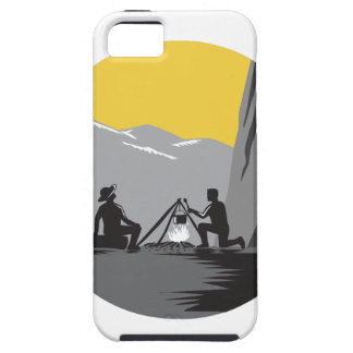 Campers Sitting Cooking Campfire Circle Woodcut iPhone SE/5/5s Case