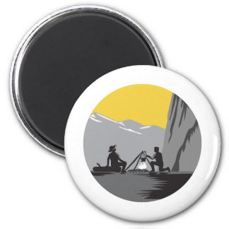 Campers Sitting Cooking Campfire Circle Woodcut Magnet