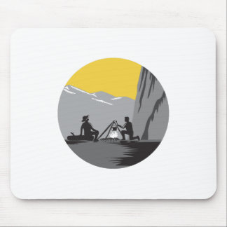 Campers Sitting Cooking Campfire Circle Woodcut Mouse Pad