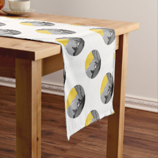 Campers Sitting Cooking Campfire Circle Woodcut Short Table Runner