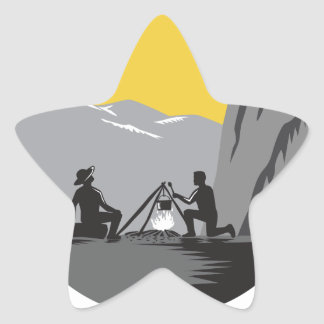 Campers Sitting Cooking Campfire Circle Woodcut Star Sticker