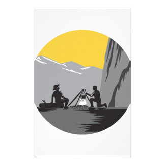 Campers Sitting Cooking Campfire Circle Woodcut Stationery