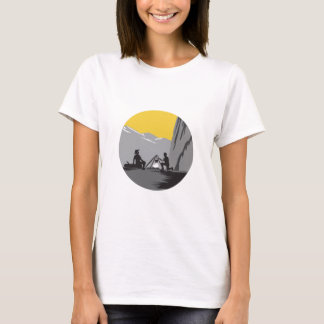 Campers Sitting Cooking Campfire Circle Woodcut T-Shirt