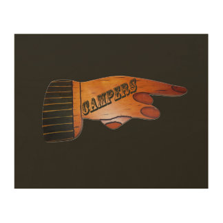 Campers Wood Finger Points Wood Wall Decor