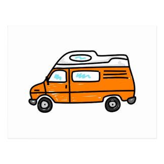 Campervan anaranjado postal