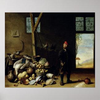Campesino en un interior póster