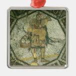 Campesino que lleva una oveja y una cesta de queso adorno navideño cuadrado de metal