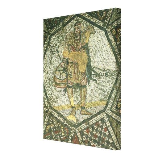 Campesino que lleva una oveja y una cesta de queso lienzo envuelto para galerías