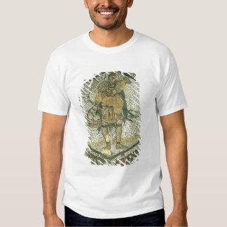 Campesino que lleva una oveja y una cesta de queso polera