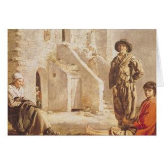 Campesinos antes de su casa, c.1641 tarjeta de felicitación