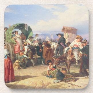 Campesinos de la Campaña 1860 aceite en lona Posavasos De Bebidas