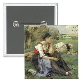 Campesinos de reclinación, 1877 pin cuadrado
