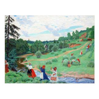 Campesinos en un campo postal
