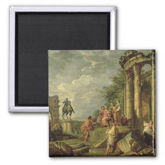 Campesinos entre las ruinas romanas, 1743 (aceite  imán para frigorifico