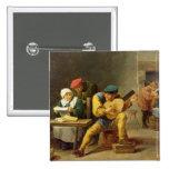 Campesinos que hacen la música en un mesón, c.1635 pin cuadrada 5 cm