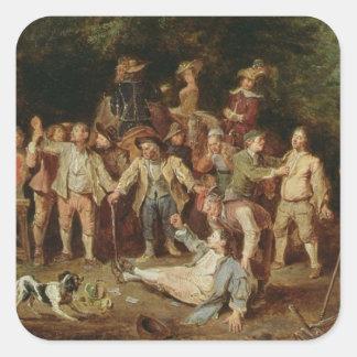Campesinos que se pelean fuera de una taberna pegatina cuadrada