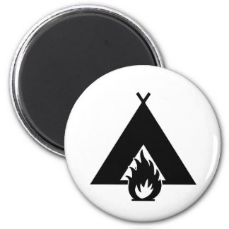 Campfire and Tent Symbol 2 Inch Round Magnet
