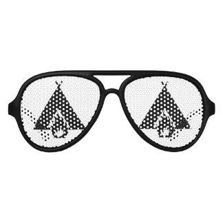 Campfire and Tent Symbol Aviator Sunglasses