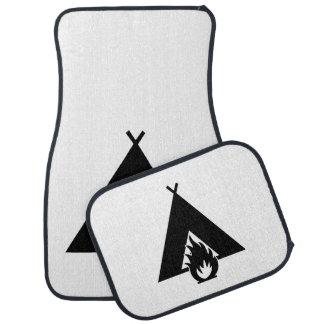 Campfire and Tent Symbol Car Mat