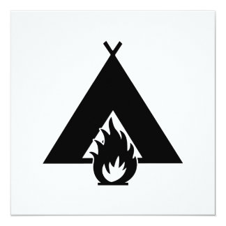 Campfire and Tent Symbol Card
