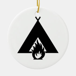 Campfire and Tent Symbol Ceramic Ornament