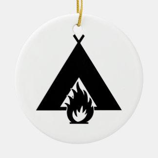 Campfire and Tent Symbol Ceramic Ornament