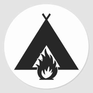 Campfire and Tent Symbol Classic Round Sticker