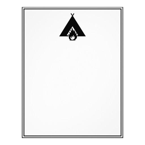 Campfire and Tent Symbol Custom Letterhead