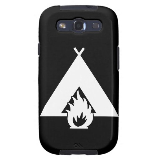 Campfire and Tent Symbol  (for Dark Backgrounds) Galaxy S3 Case