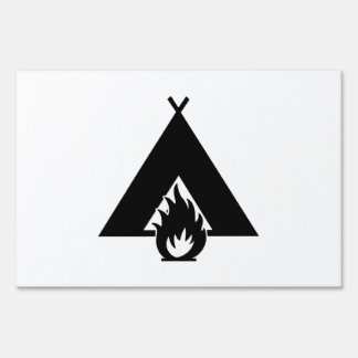 Campfire and Tent Symbol Lawn Sign