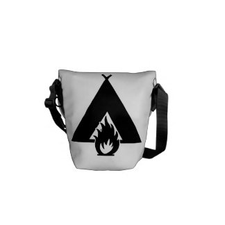 Campfire and Tent Symbol Courier Bags
