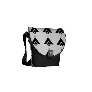 Campfire and Tent Symbol Messenger Bags