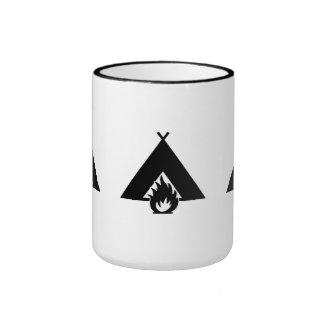 Campfire and Tent Symbol Coffee Mugs