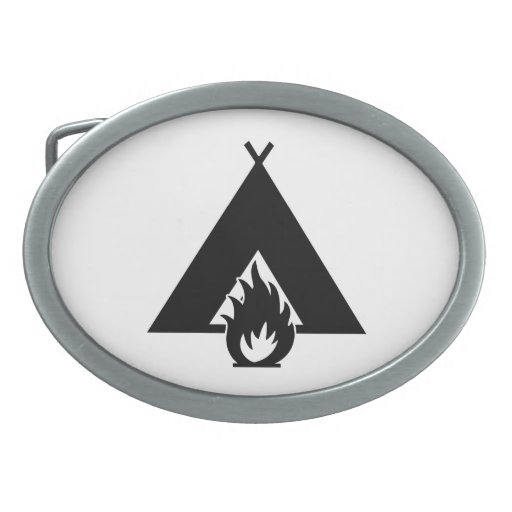 Campfire and Tent Symbol Oval Belt Buckles
