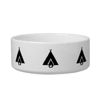 Campfire and Tent Symbol Cat Water Bowls