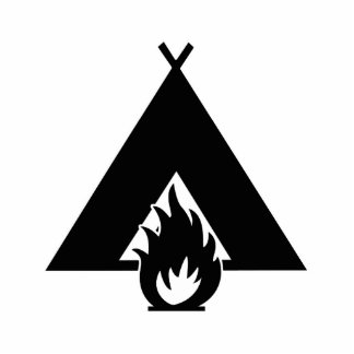 Campfire and Tent Symbol Photo Statuette