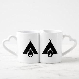 Campfire and Tent Symbol Couples Mug