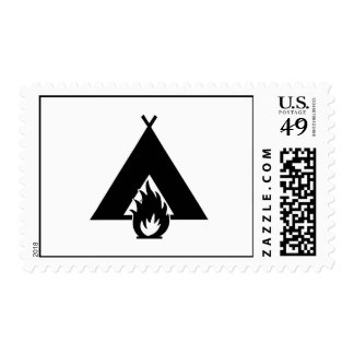 Campfire and Tent Symbol Postage