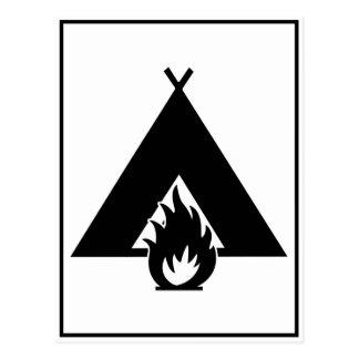 Campfire and Tent Symbol Postcard