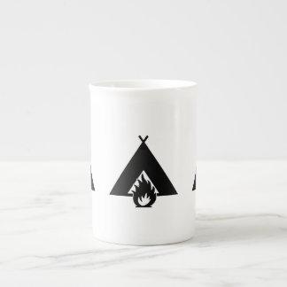 Campfire and Tent Symbol Porcelain Mugs