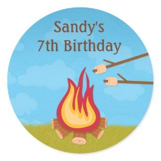 Campfire Birthday Party Sticker zazzle_sticker
