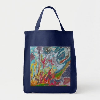 Campfire - Colorful Digital Abstract Painting Grocery Tote Bag