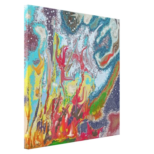 Campfire - Colorful Digital Abstract Painting Canvas Print